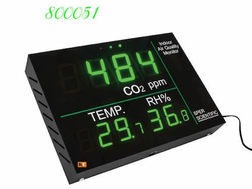 800051 đo nồng độ CO2, nhiệt độ và độ ẩm không khí.